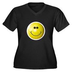 Bowling Smiley Women's Plus Size V-Neck Dark T-Shi