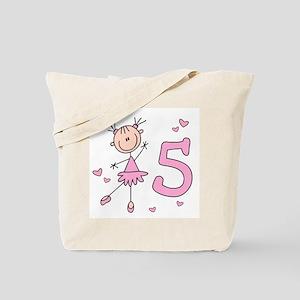 Stick Ballerina 5th Birthday Tote Bag