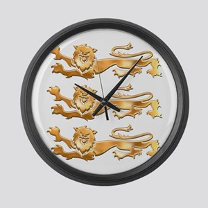 Three Gold Lions Large Wall Clock