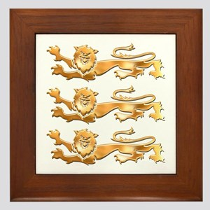 Three Gold Lions Framed Tile