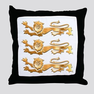 Three Gold Lions Throw Pillow