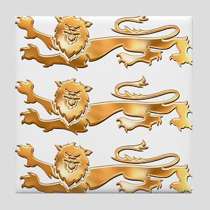 Three Gold Lions Tile Coaster