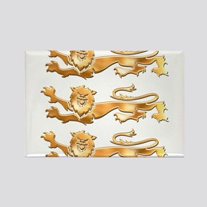 Three Gold Lions Rectangle Magnet