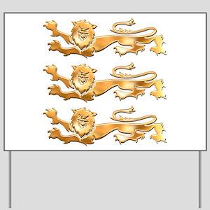 Three Gold Lions Yard Sign