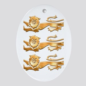Three Gold Lions Oval Ornament