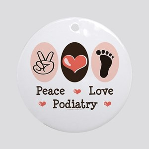Peace Love Podiatry Ornament (Round)