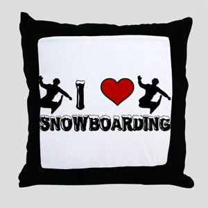I Love Snowboarding! Throw Pillow