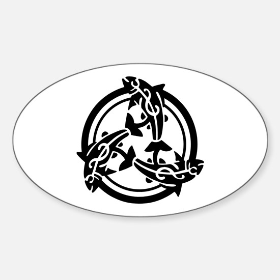 Tribal Celtic Fish Oval Decal