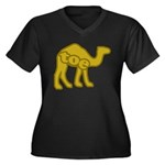 Camel Toe Women's Plus Size V-Neck Dark T-Shirt