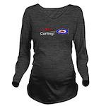 I Love Curling Long Sleeve Maternity T-Shirt