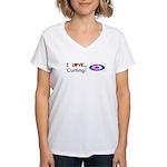 I Love Curling Women's V-Neck T-Shirt