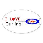 I Love Curling Sticker (Oval 50 pk)
