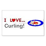 I Love Curling Sticker (Rectangle 50 pk)
