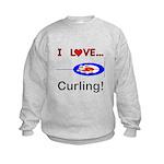 I Love Curling Kids Sweatshirt