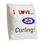 I Love Curling Burlap Throw Pillow