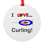 I Love Curling Round Ornament
