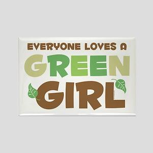Loves A Green Girl Rectangle Magnet