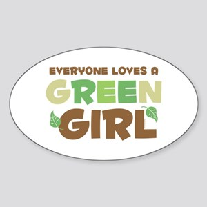 Loves A Green Girl Oval Sticker