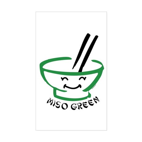 Miso Green Rectangle Sticker