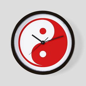 Red Yin-Yang Wall Clock