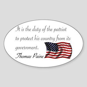 Duty of a Patriot Oval Sticker