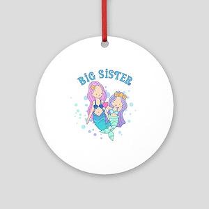Cute Mermaids Big Sister Ornament (Round)