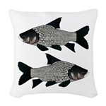 Giant carp barb Woven Throw Pillow