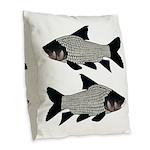 Giant carp barb Burlap Throw Pillow