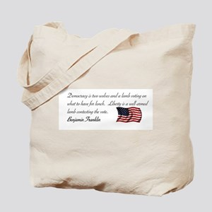 Two wolves and a lamb Tote Bag