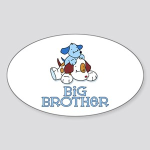 Cute Puppys Big Brother Oval Sticker