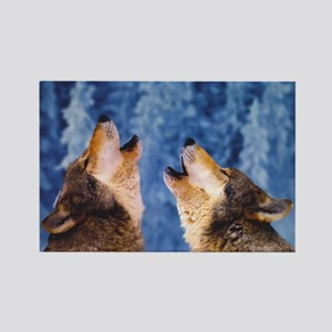 """""""Howling Wolves"""" Rectangle Magnet"""