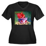 salsa dog Women's Plus Size V-Neck Dark T-Shirt
