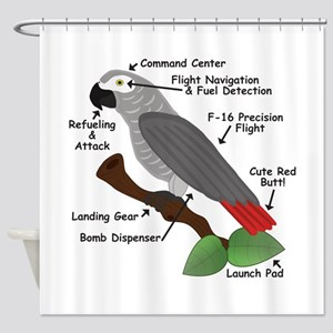Anatomy of an African Grey Parrot Shower Curtain