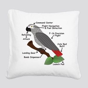 Anatomy of an African Grey Pa Square Canvas Pillow