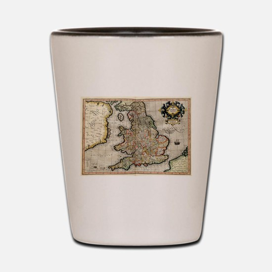 Vintage Map of England (1596) Shot Glass