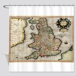 Vintage Map of England (1596) Shower Curtain