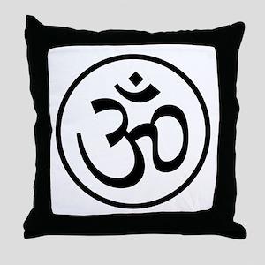 Aum Black Throw Pillow