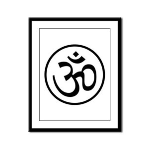 Aum Black Framed Panel Print