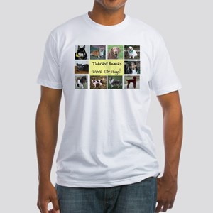 Therapy Animals Work For Hugs Fitted T-Shirt