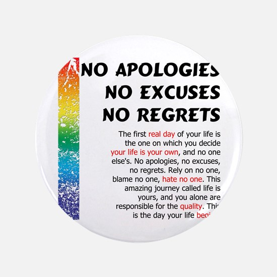 "No Apologies 3.5"" Button"