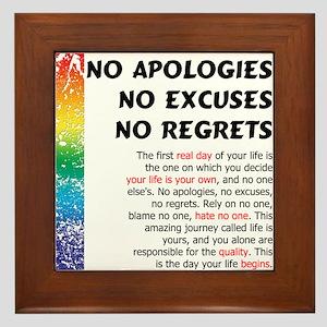No Apologies Framed Tile