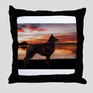 Belgian Tervuren Sunset Throw Pillow
