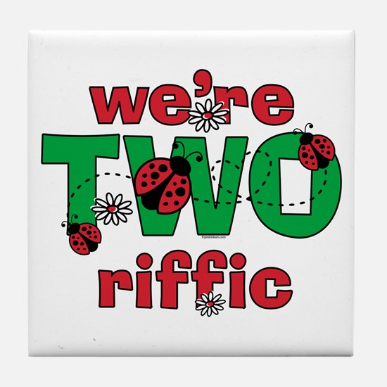 TWOriffic Ladybug Twins Birthday Tile Coaster