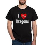 I Love Dragons (Front) Black T-Shirt
