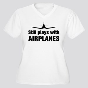 Still plays with Airplanes-Co Women's Plus Size V-