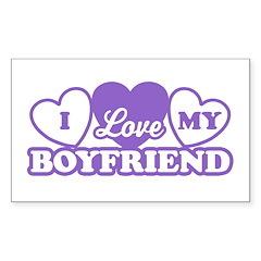 I Love My Boyfriend Rectangle Sticker 10 pk)