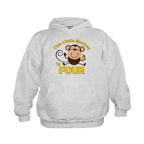 Little Monkey 4th Birthday Boy Kids Hoodie