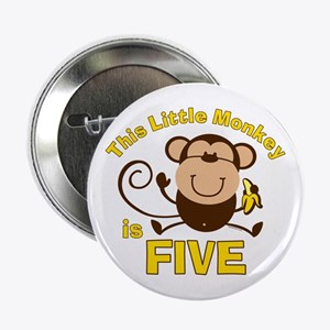 "Little Monkey 5th Birthday Boy 2.25"" Button"