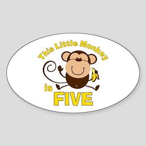 Little Monkey 5th Birthday Boy Oval Sticker