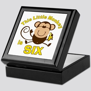 Little Monkey 6th Birthday Boy Keepsake Box